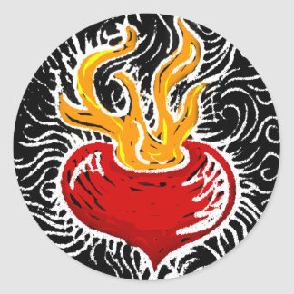 Woodcut Valentine - Flaming Heart Sticker