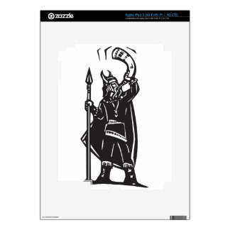 Woodcut Viking with Horn iPad 3 Skins