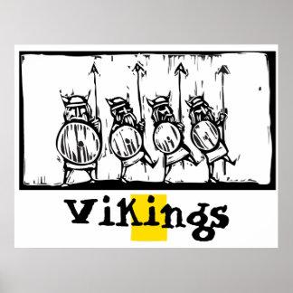 Woodcut Vikings Poster