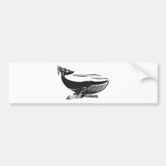 Woodcut Whale 6 Bumper Sticker