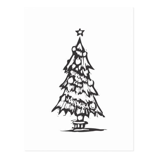 Woodcut Xmas Tree Postcard