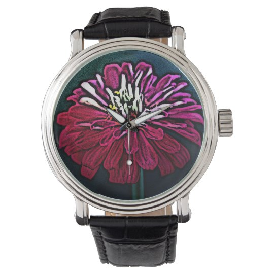 Woodcut Zinnia in Red and Pink Wrist Watch