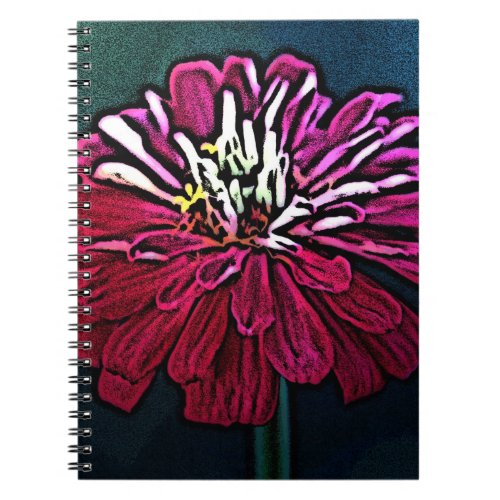 Woodcut Zinnia notebook