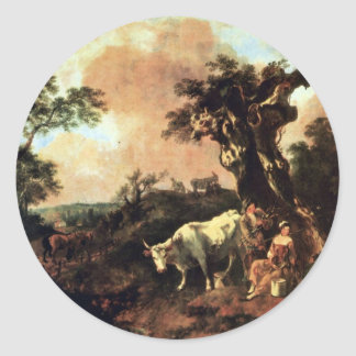 Woodcutter A Milk-Maid Wooing By Gainsborough Thom Round Stickers