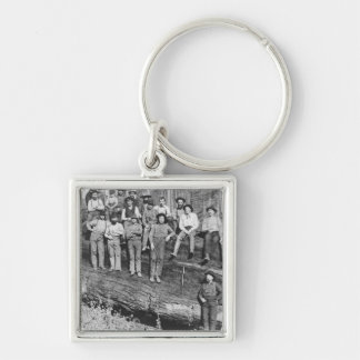 Woodcutters in California, 1891 Keychain
