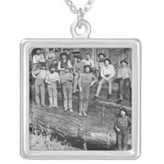 Woodcutters in California, 1891 Square Pendant Necklace