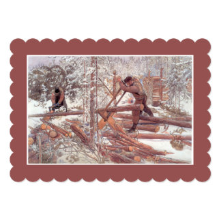 Woodcutters in the Forest Card