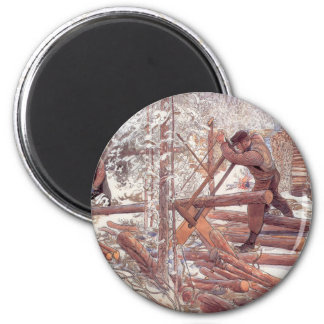 Woodcutters in the Snow 2 Inch Round Magnet