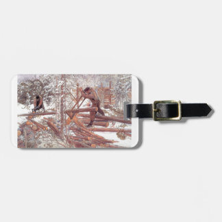 Woodcutters in the Snow Bag Tag