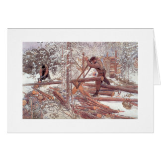 Woodcutters in the Snow Card