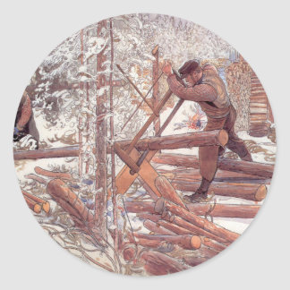 Woodcutters in the Snow Classic Round Sticker