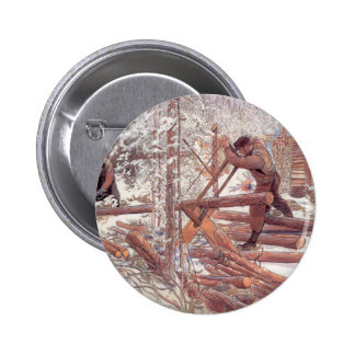 Woodcutters in the Snow Pinback Button