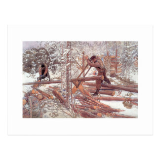Woodcutters in the Snow Postcard