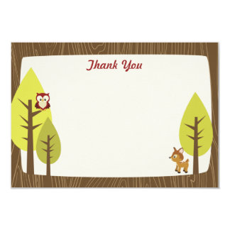 """Wooded Baby Shower Flat Thank You Card 3.5"""" X 5"""" Invitation Card"""