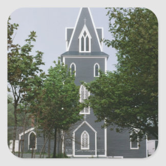 Wooded chapel, Newfoundland, Canada Square Sticker