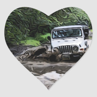 Wooded Jeep Heart Sticker