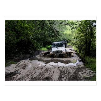 Wooded Jeep Postcard