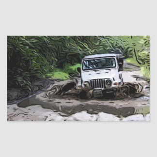 Wooded Jeep Rectangular Sticker