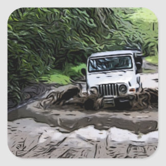 Wooded Jeep Square Sticker