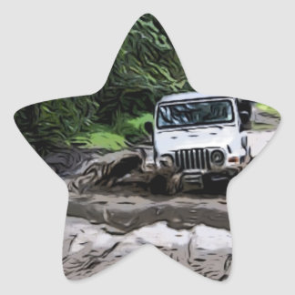 Wooded Jeep Star Sticker