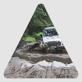 Wooded Jeep Triangle Sticker