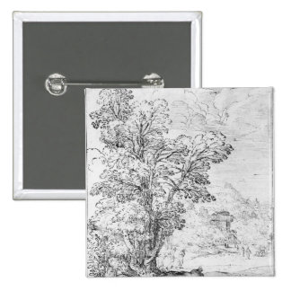 Wooded landscape 2 inch square button