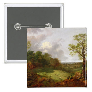 Wooded Landscape with a Cottage, Sheep and a Recli 2 Inch Square Button