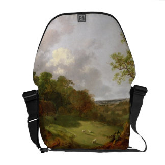 Wooded Landscape with a Cottage, Sheep and a Recli Messenger Bag