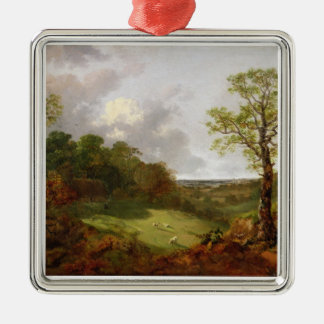 Wooded Landscape with a Cottage, Sheep and a Recli Metal Ornament