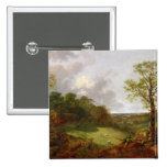 Wooded Landscape with a Cottage, Sheep and a Recli Pinback Button