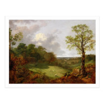 Wooded Landscape with a Cottage, Sheep and a Recli Postcard
