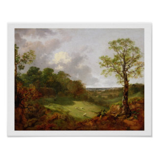 Wooded Landscape with a Cottage, Sheep and a Recli Poster