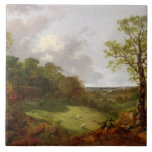 Wooded Landscape with a Cottage, Sheep and a Recli Large Square Tile