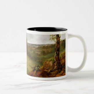 Wooded Landscape with a Cottage, Sheep and a Recli Two-Tone Coffee Mug