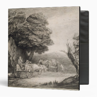 Wooded Landscape with Carts and Figures (etching o Binder