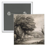 Wooded Landscape with Carts and Figures (etching o 2 Inch Square Button