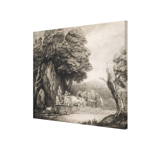 Wooded Landscape with Carts and Figures (etching o Canvas Print