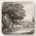Wooded Landscape with Carts and Figures (etching o Coasters