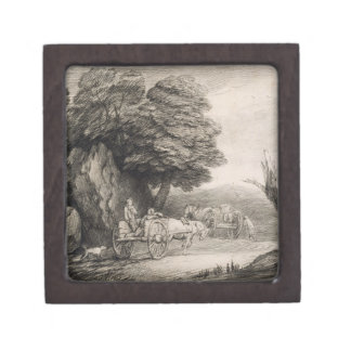 Wooded Landscape with Carts and Figures (etching o Gift Box