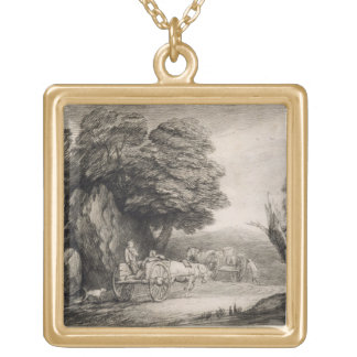 Wooded Landscape with Carts and Figures (etching o Gold Plated Necklace