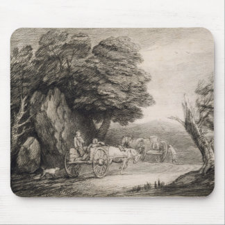 Wooded Landscape with Carts and Figures (etching o Mouse Pad