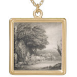 Wooded Landscape with Carts and Figures (etching o Square Pendant Necklace