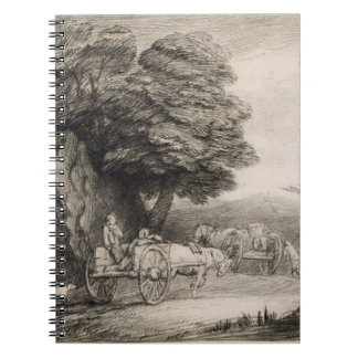 Wooded Landscape with Carts and Figures (etching o Notebook