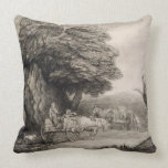 Wooded Landscape with Carts and Figures (etching o Pillows