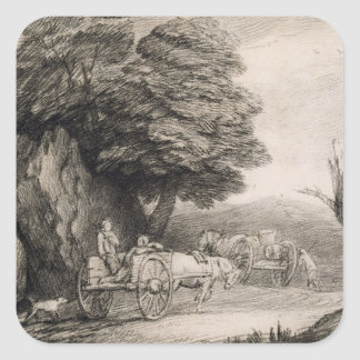 Wooded Landscape with Carts and Figures (etching o Square Sticker