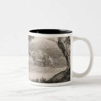 Wooded Landscape with Carts and Figures (etching o Two-Tone Coffee Mug