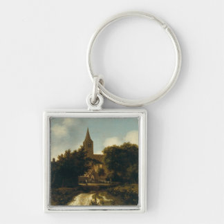 Wooded Landscape with Figures near a Church Keychain