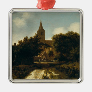 Wooded Landscape with Figures near a Church Metal Ornament