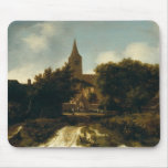 Wooded Landscape with Figures near a Church Mouse Pad