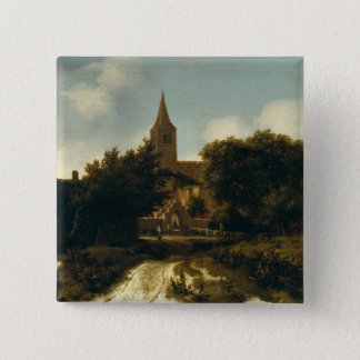 Wooded Landscape with Figures near a Church Pinback Button